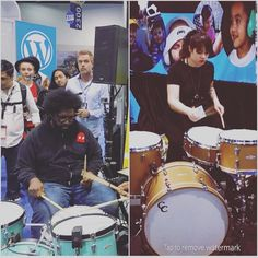 C and C drums #namm2016 @questlove on the superflyer kit at #sensorypercussion & @drumrchick5 on the goldtop #spotto