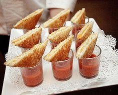 Bite size grilled cheese and tomato soup - looks like a boat with a sail to me! might add it in to the birthday party food