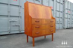 Danish modern mid century teak secretary desk. Designed by G Tibergaard Nielsen.