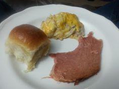 Ham, Cheesy Potatoes & Rolls from scratch