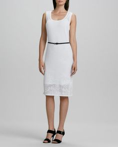 Belted Lace Dress by Carmen by Carmen Marc Valvo at Neiman Marcus.