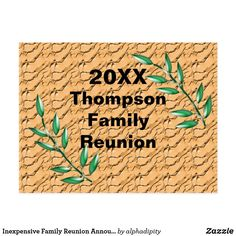 5ebd20261 Inexpensive Family Reunion Announcement Invite Postcard Green Tree Branches  with Brown Basket weave background. #