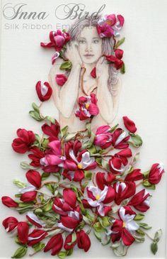 Maiden amidst Magnolia Sketch, Silk Ribbon Embroidered Picture