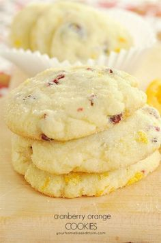 The perfect cookies for a holiday cookie plate or for anytime of year. The flavor combo of orange and cranberry is delicious!