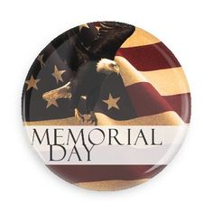 Funny Buttons - Custom Buttons - Promotional Badges - Memorial Day Holiday Pins - Wacky Buttons - Memorial day eagle American flag