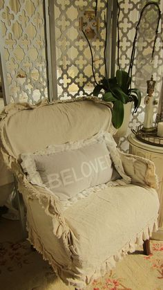 shabby chic vintage slip covered chair by dovesanddahlias on Etsy, $225.00 ---do this on chairs in reading room
