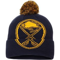 64ce8a4afba Men s Buffalo Sabres Fanatics Branded Navy Iconic Team Pop Cuffed Knit Hat  with Pom