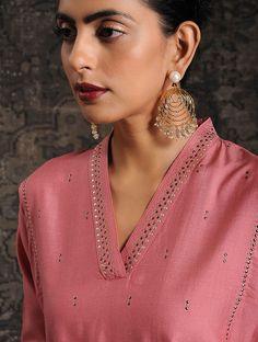 Best 12 Pink Tussar Munga Silk Kurta with Embellishment – SkillOfKing. Salwar Designs, Silk Kurti Designs, Kurta Designs Women, Kurti Designs Party Wear, Neck Designs For Suits, Sleeves Designs For Dresses, Neckline Designs, Dress Neck Designs, Blouse Designs