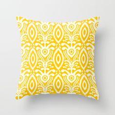 Yellow Ikat Pattern Throw Pillow