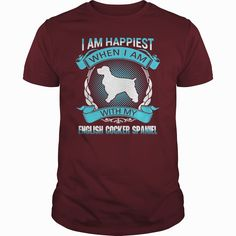 Happiest with my English #Cocker Spaniel , Order HERE ==> https://www.sunfrog.com/Pets/109818188-300484310.html?58114, Please tag & share with your friends who would love it, #xmasgifts #birthdaygifts #renegadelife