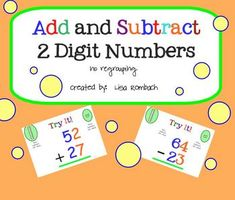 Add Subtract 2 Digit Numbers No Regrouping SmartBoard Lesson (.notebook file) $