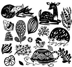 Little stamp designs for card and tea towel making. love the hedgie and teacup turtle.