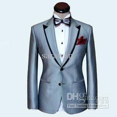 Buy cheap Custom made men suit,silver mens wedding suit,black double collar mens tuxedos(Jacket+Pants+Tie+Poke with $168.0-179.2/Piece DHgate