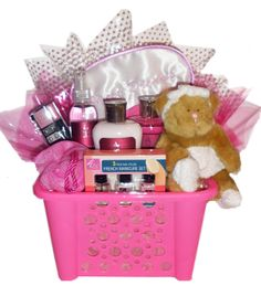This is the inspiration for two gift basket ideas. One is a make up gift basket from items found at the dollar store or grocery outlet. Perfect for little girls. Another is a nail/pedi basket with nail polishes and all kinds of bedazzle stickers, files, etc.