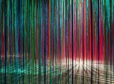 the project is an interactive, site-specific installation consisting of over 24 miles of multicolored satin ribbons.