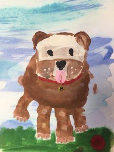 Handprint Bulldog. B is for bulldog. Handprint letter B. Dog, Toddler Art