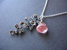 Sale Silver Cherry Blossom Necklace Strawberry Quartz by PixieDust, $24.00