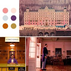 wes anderson – madeline made Grand Budapest Hotel, Colour Pallette, Colour Schemes, Wes Anderson Color Palette, Wes Anderson Style, Color In Film, Damien Chazelle, Color Script, Pallets