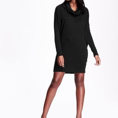 """Wear me with boots🍂Cowl neck sweater dress tunic New with tags. Black. 86% polyester. 10% rayon. 4% spandex. Drop shoulder long sleeves. Soft medium weight sweater knit with marled pattern. 32"""" long. Super sexy with long boots. Gorgeous with long boots!! Old Navy Dresses"""