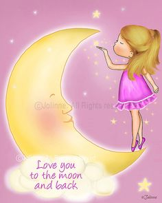 Love you to the moon and back kids quote wall artcustom by jolinne