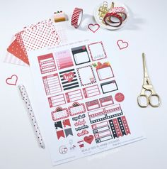 Really Red Planner Stickers – Free Printable   Vintage Glam Collectibles by Dru Cortez