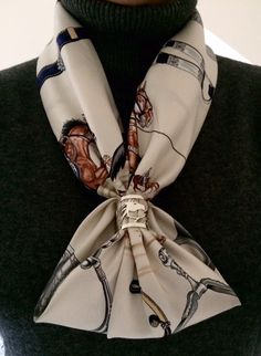 AN signature Scarf Ring, Feather Knot scarf configuration,  Hermes Pampa 1988 Jean de Fougerolle!