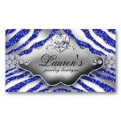 Salon Business Card Jewelry Zebra Valentine's Heart Sparkle Blue Glitter Template Design.