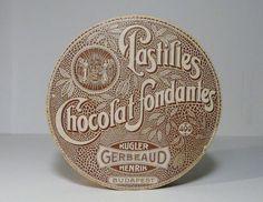 Korai Kugler Henrik Gerbeaud  Pastilles Chocolat Fondantes csokoládé doboz / Vintage Chocolate Box, Candy Box