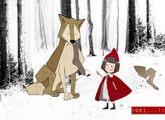 Roodkapje en de wolf  Illustratie Liesbeth klaase