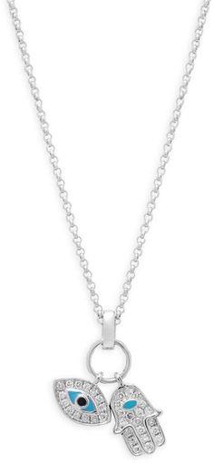 Casa Reale Women's Diamond and 18K White Gold Evil Eye and Hamsa Pendant Necklace