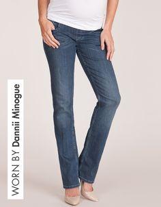 Blue Wash Straight Leg Premium Maternity Jeans   Seraphine Maternity