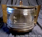Brass running light initially fitted to the foremast of the Titanic to warn other ships of her presence.