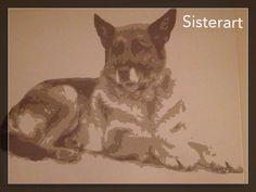 Herdershond Bruintinten  Popart-SisterArt