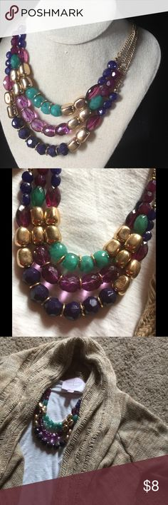 Three tier chunky statement necklace Very fun and colorful statement necklace gold purple and blue will make any outfit pop F21 Forever 21 Jewelry Necklaces