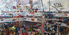Sabine Ammer - Layers - Übermalt mein Bild! Interaktive Malerei mit 400 Austellungsbesuchern  Mischtechnik auf Papier-Kunststoffverbundplatte, 122 x 244 cm im Jahr 2013