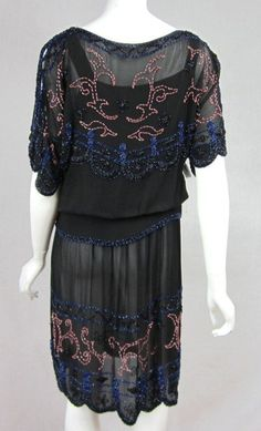 1920s Black Multi Colored Beaded Drop Waisted Dress
