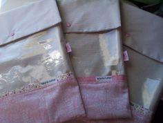 3 saquinhos de roupas medida 34x27 cm tecido 100% algodão com visor de plastico transparente