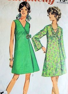 These would look great with Amy Butler or Lily P Elegant Side Wrap A Line Dress Pattern Perfect Day or Cocktail Dress Simplicity 8133 Jiffy Vintage Sewing Pattern Bust 34 UNCUT Vintage Outfits, Robes Vintage, Vintage Dresses, Dress Making Patterns, Vintage Dress Patterns, Clothing Patterns, Tent Dress, Apron Dress, 1960s Fashion