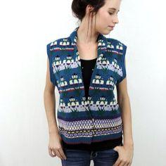 90s Vintage Winter Teal Sweater Vest 1990s Chunky by poetryforjane