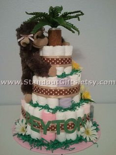 Items similar to Monkey Diaper Cake -Custom Made to Order by Standout Gifts on Etsy Safari Diaper Cakes, Monkey Diaper Cakes, Theme Cakes, Craft Items, Cool Kitchens, Shower Ideas, Original Artwork, Craft Supplies, Arts And Crafts