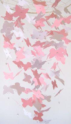 Pink Butterfly chandelier Nursery Mobile. $55.00, via Etsy.