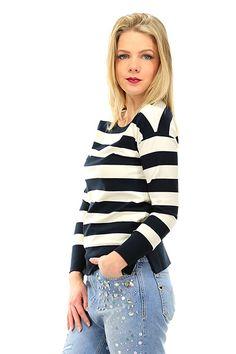 TWIN-SET SIMONA BARBIERI - Maglie - Abbigliamento - Maglia in viscosa elasticizzata a righe, girocollo e manica lunga. - MADREPERLA\BLU - € 106.00