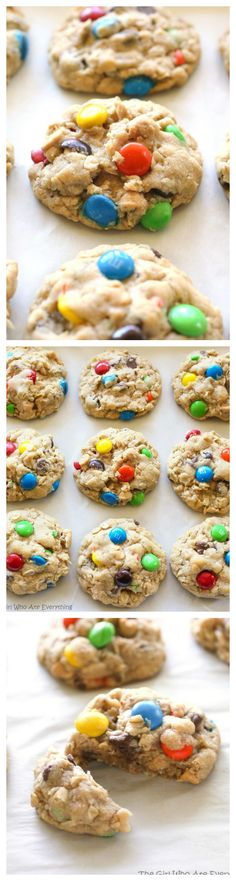 Monster Cookies - these soft cookies are filled with peanut butter, oats, chocolate chips, and M&Ms. the-girl-who-ate-everything.com