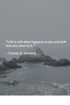 """Life is 10% what happens to you and 90% how you react to it.""   - Charles R. Swindoll"
