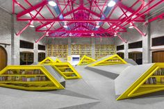 The goal of this project was to design a contemporary reading and cultural center while preserving the ruins of a historic factory on the outskirts of Monterrey, Mexico. Inspired by the organic shapes of the Sierra Madre foothills, Anagrama created a winsome, fluorescent space that respects the integrity of the original structure.