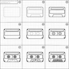 "135 Likes, 2 Comments - Random things to Draw (@randomthingsdraw) on Instagram: ""How to draw a cassette tape."""