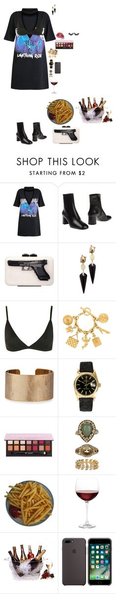 """""""After Grammy party"""" by hindrance ❤ liked on Polyvore featuring Prada, Yazi, Alexis Bittar, Topshop, Chanel, Panacea, Rolex, Accessorize, Nordstrom and Prodyne"""