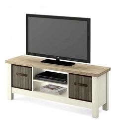 Advait TV Stand for TVs up to Ebern Designs Colour: Brown/White Buy Tv Stand, Units Online, Tv Bracket, Bamboo Basket, Particle Board, Types Of Wood, Entertainment Center, The Unit, Entertaining