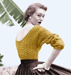 Vintage Vogue Knitting Pattern Sexy Low Back Sweater 1950s Pinup Digital Download PDF
