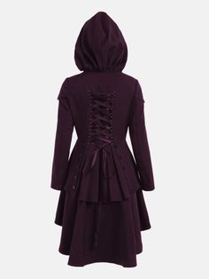 0de88cc02ca Women Casual Long Sleeve High Low Hem Lace Up Back Layered Cosplay Hooded  Coat Dress    Learn more by visiting the image link. Women s Hooded Coat  Cheap ...